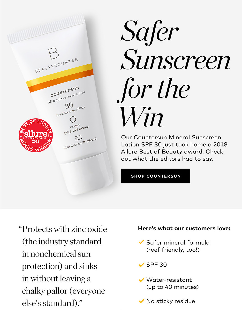 Safe Sunscreen For The Win - Countersun Mineral Sunscreen Lotion SPF 30 – 6.7 oz. - MollyLorene.com