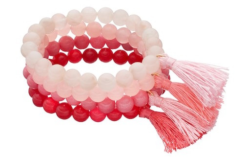 LOLI BIJOUX | Breast Cancer Awareness Pink Beaded Tassel Stretch Bracelet Set