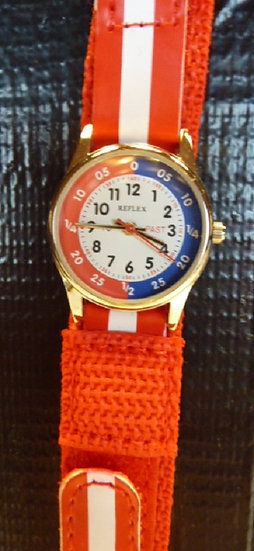 Time Teacher Watch  fabric strap in Red & White