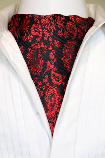 Cravat - Small Paisley Red/Black
