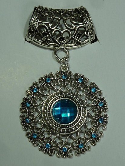 Scarf Pendant - Blue Filigree Round Bling