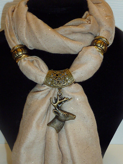 Sparkle Set - Coffee Scarf & Stag pendant
