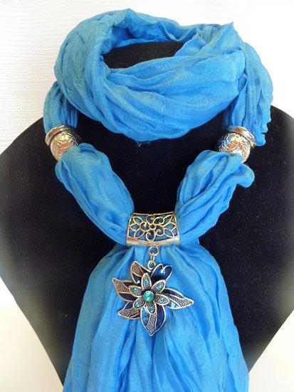 Crinkle Set - Blue Sky Scarf & Flower Pendant