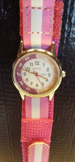 Time Teacher Watch  fabric strap in Pink & White