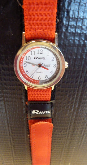 Time Teacher Watch  fabric strap in Red & Black