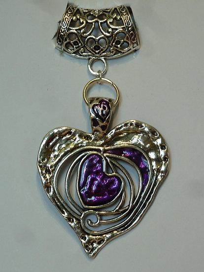 Scarf Pendant - Large Heart - more colours
