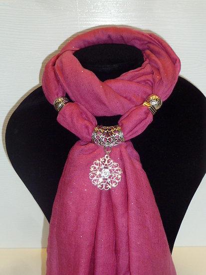Sparkle Set - Hot Pink Scarf & Snowflake