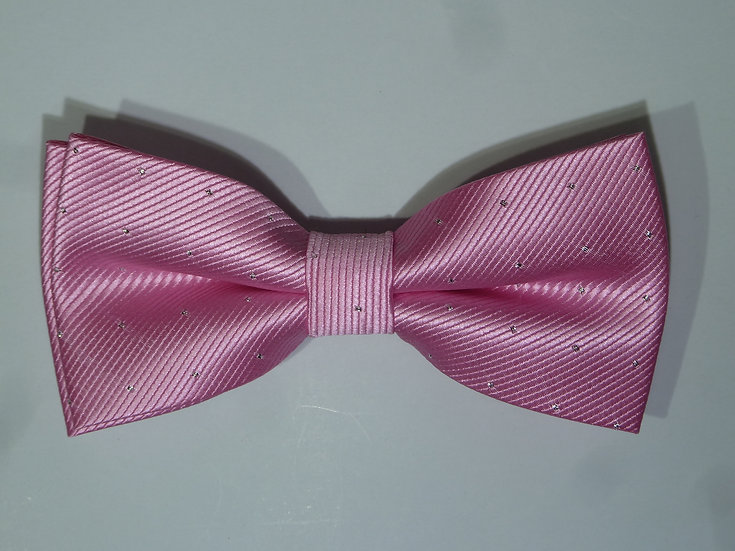 Bowtie - Bright Pink & Silver Dots