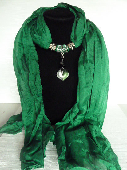 Crinkle Scarf, Pendant & Side Decor Rings Set