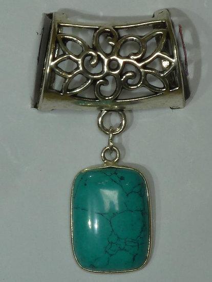 Scarf Pendant - Rectangular Turquoise