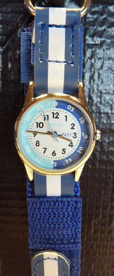 Time Teacher Watch fabric strap in Blue & White