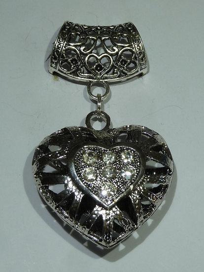 Scarf Pendant - Large Filigree Heart