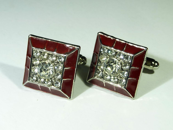 Cufflinks - Traditional Red Clear