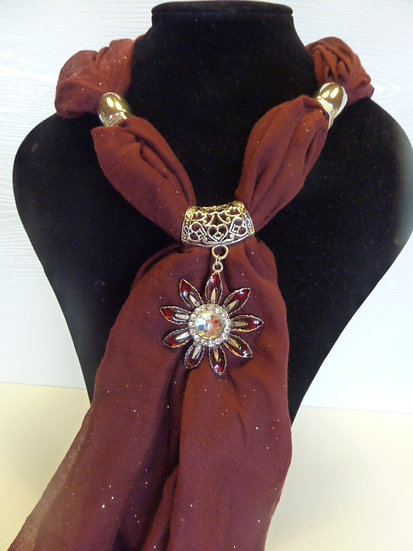 Sparkle Set - Burgundy Scarf & Flower Pendant