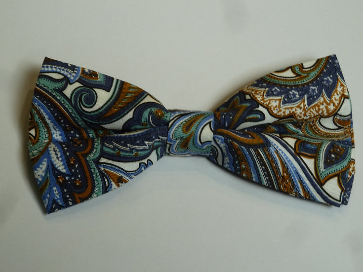 Bowtie - Blue Cotton Paisley