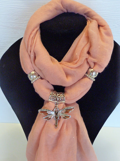 Sparkle Set - Peach Scarf & Dragonfly Pendant