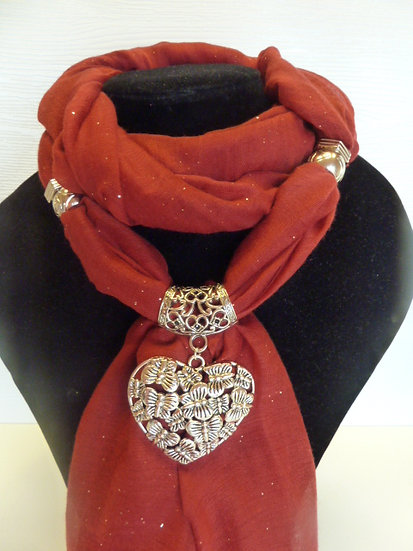 Sparkle Set - Red Scarf & Heart Pendant