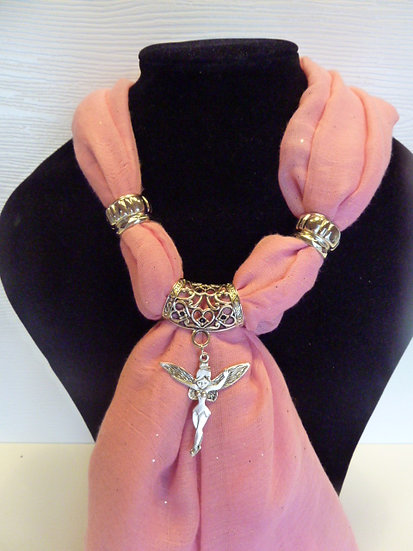 Sparkle Set - Baby Pink Scarf & Tinkerbell Fairy Pendant
