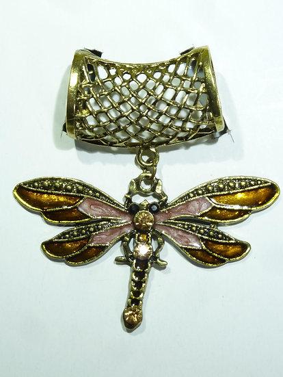 Scarf Pendant - Dragonfly Enamelled