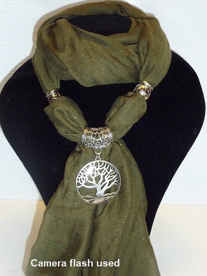 Sparkle Set - Dark Sage Scarf & Tree of Life Pendant