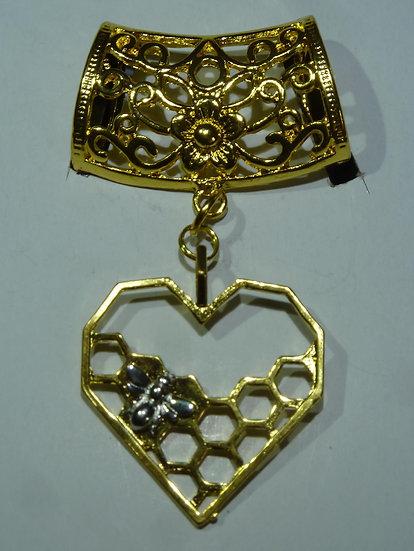 Scarf Pendant - Bee on Honeycomb
