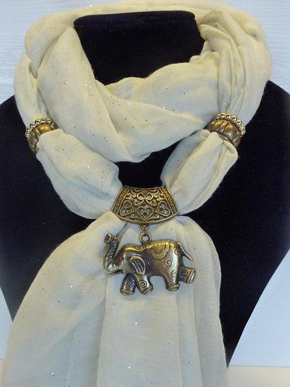 Sparkle Set - Cream Scarf & Elephant Pendant
