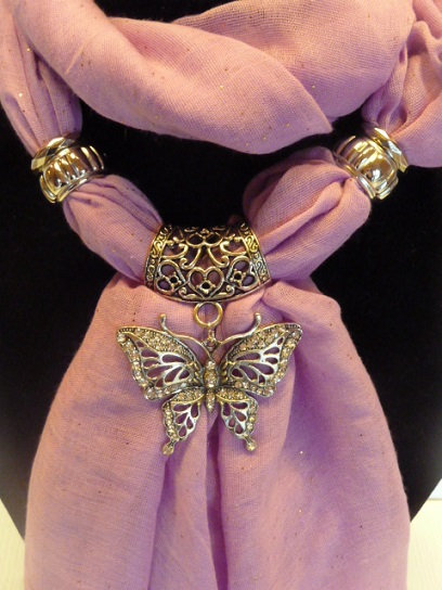 Sparkle Scarf, Pendant & Side Décor Ring Set