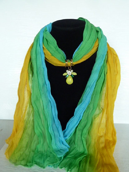 Rainbow Scarf & Pendant Set