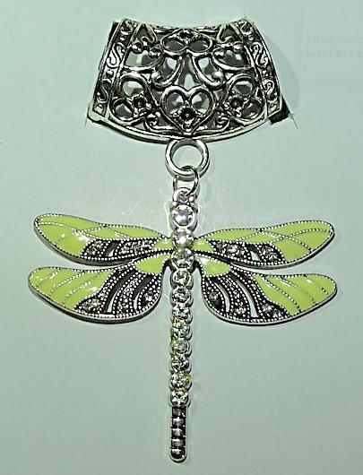 Scarf Pendant - Lemon Dragonfly