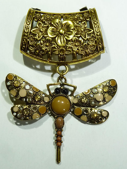 Scarf Pendant - Dragonfly Bronze