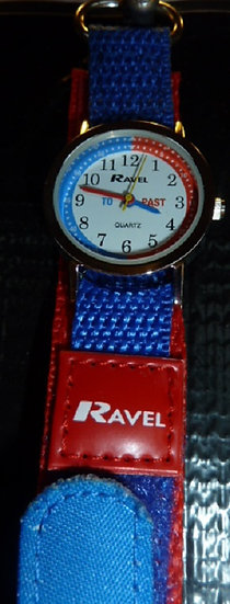 Time Teacher Watch fabric strap in Blue & Red