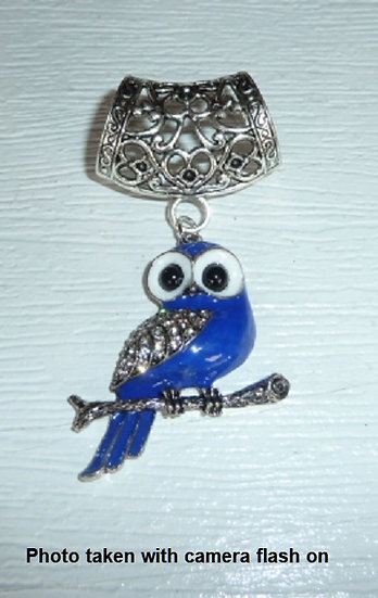 Scarf Pendant - Owl in Blue