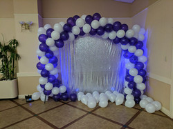 Purple and White Balloon Backdrop Arch