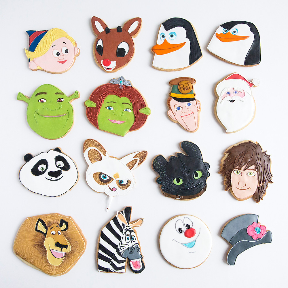 cookies based on characters from Fox Home Entertainment and DreamWorks Animation holiday movies.