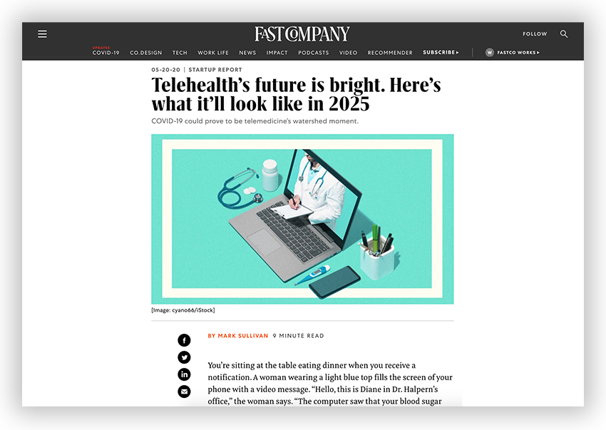 Article at Fast Company featuring GALE Telehelath Platform