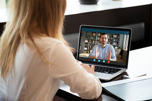 View over shoulder employer listen appli