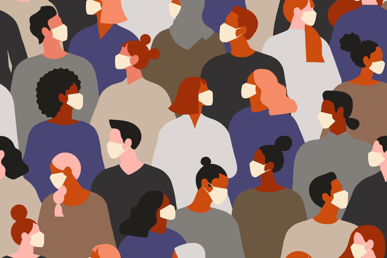 alphamed crowd in masks