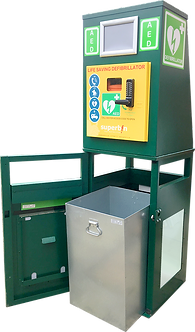 The defibrillator (Large Litter bin)