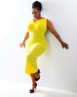 Curves bright as the sun! #pretty #plussizefashion #curves #fashion #fabulous #beauty #updo #yellow