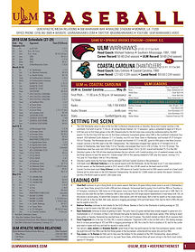 ULM BSB Notes Game 57 vs Coastal Carolin