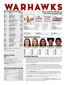ULM WBB Game Notes vs. Little Rock 3-9-1