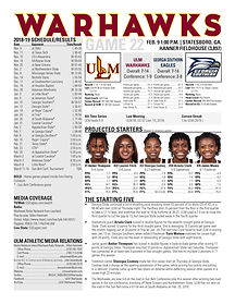 ULM WBB Game Notes at Georgia Southern 2