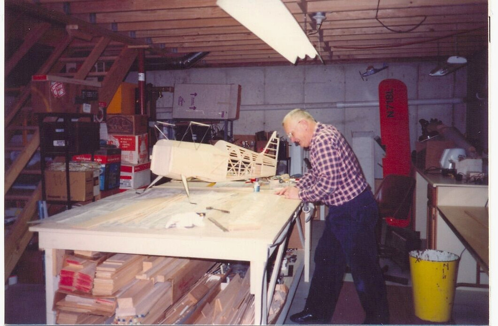 Dad working on a model