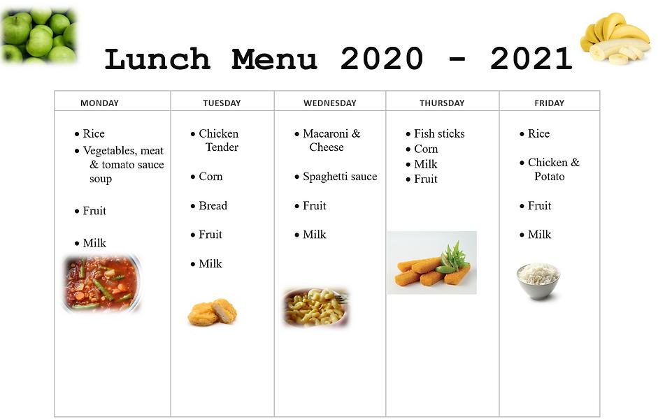 Lunch menu 2020 - 2021