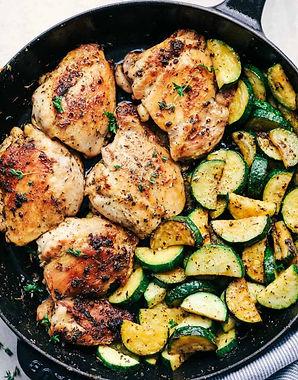Lemon Herb Chicken, Orzo Pilaf, and Seasoned Summer Squash
