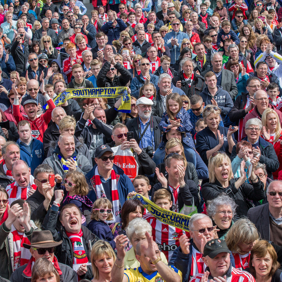 Editorial shot of a football crowd