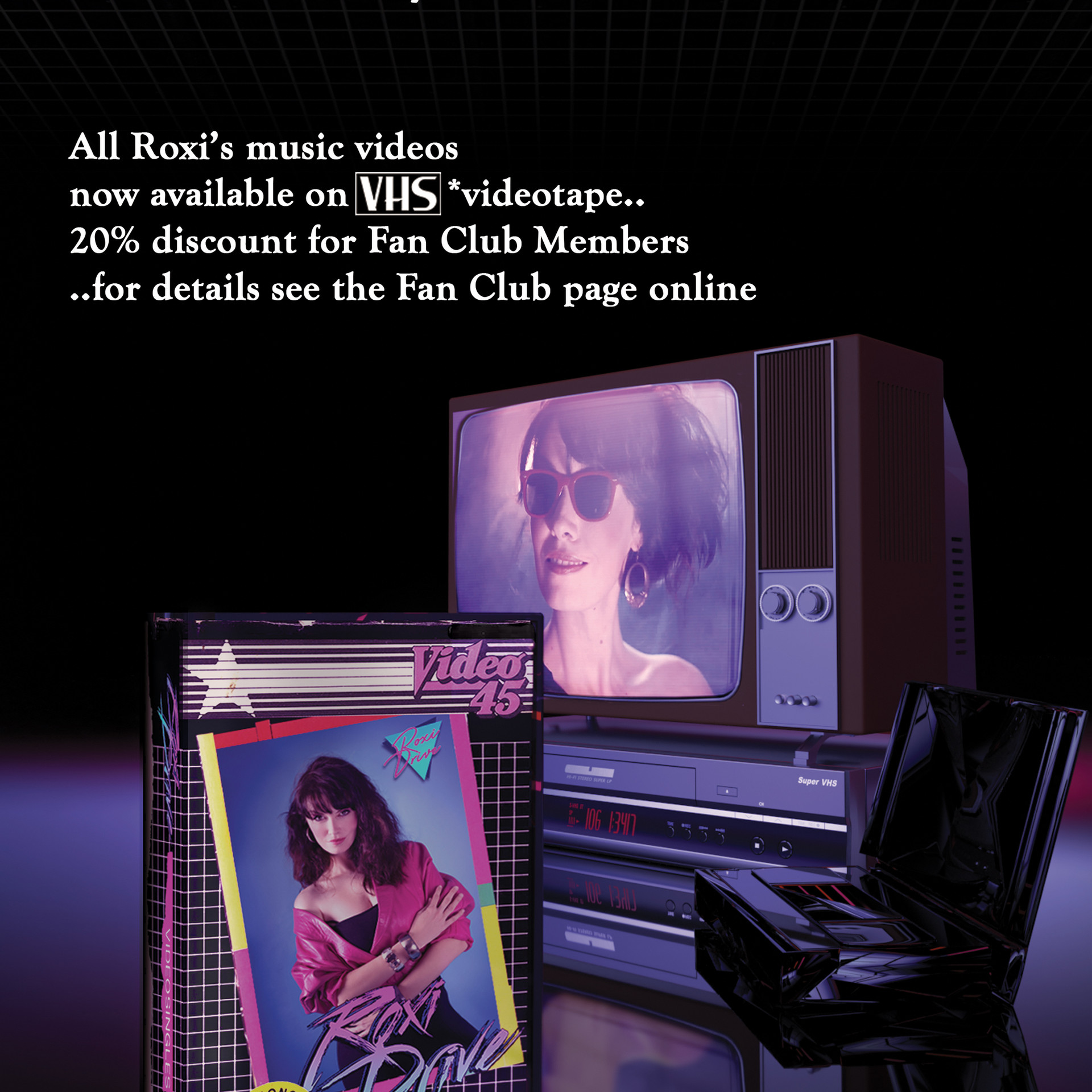 Featured in the Fan Club magazine above. An 80s style advert made with CGI elements modelled in Blender and rendered using Adobe Dimension