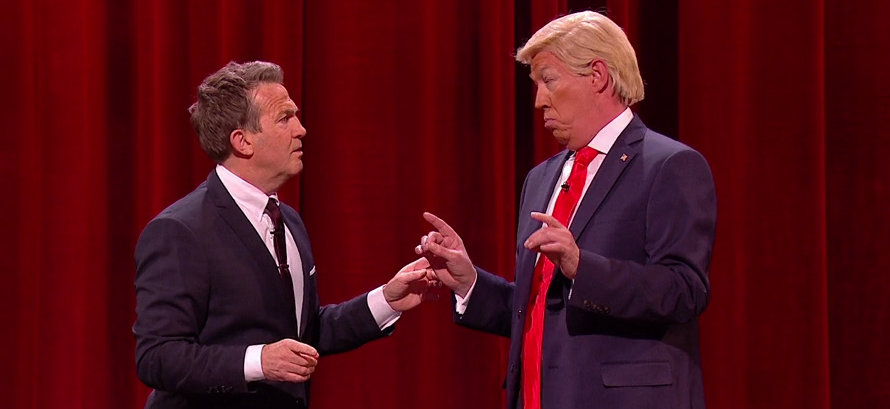Mike Osma as Donald Trump talks to Bradley Walsh on The Nightly Show
