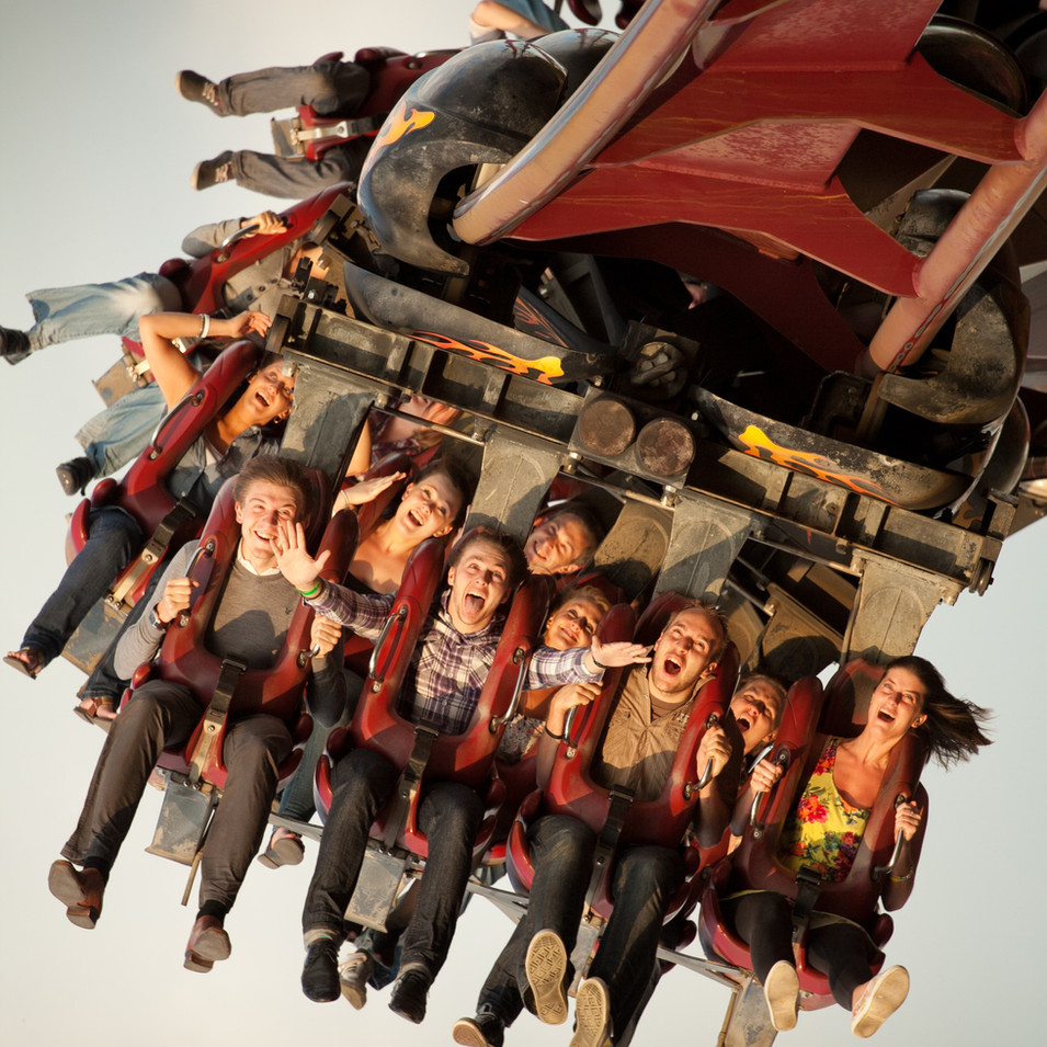 Commercial photograph of people on Nemesis at Thorpe Park Theme Park