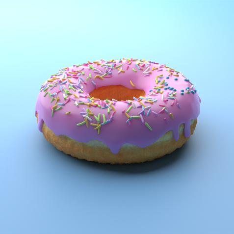 Doughnut modelled in Blender and rendered in Dimension